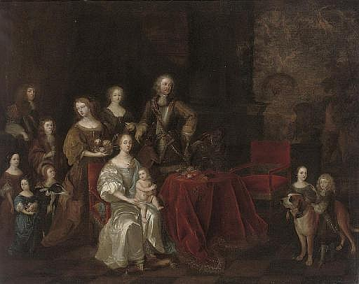 Portrait of a family, full-length, around a table, in an interior, a landscape beyond