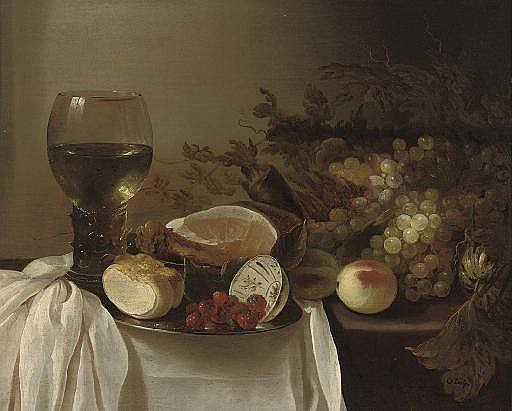 A roemer of wine, a pewter platter with a bread roll, a bowl of raspberries, a joint of ham, peaches and grapes on a partly-draped table