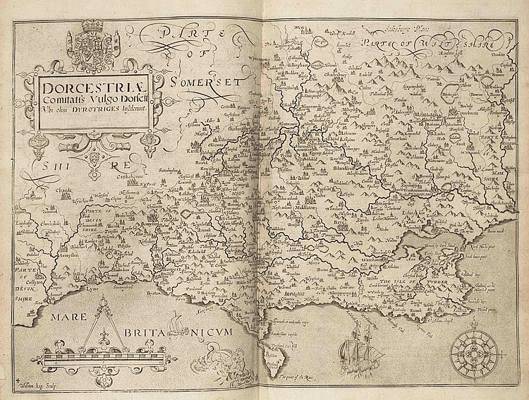CAMDEN, William (1551-1623). [ Camden's Britannia Abridgment . London: J.B. for J. Wild, 1701?]. 2 volumes in one. 2° (340 x 230mm). 56 (of 61) engraved maps, engraved illustrations. (Lacking engraved portrait, pages 1-22 and the part on