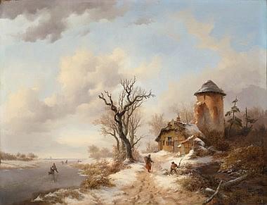 Heavyweight matte paper pigment archival inks A4  A3 Fredrik Marinus Kruseman Winter Landscape 1853 A4  A3 reproduction fine art print