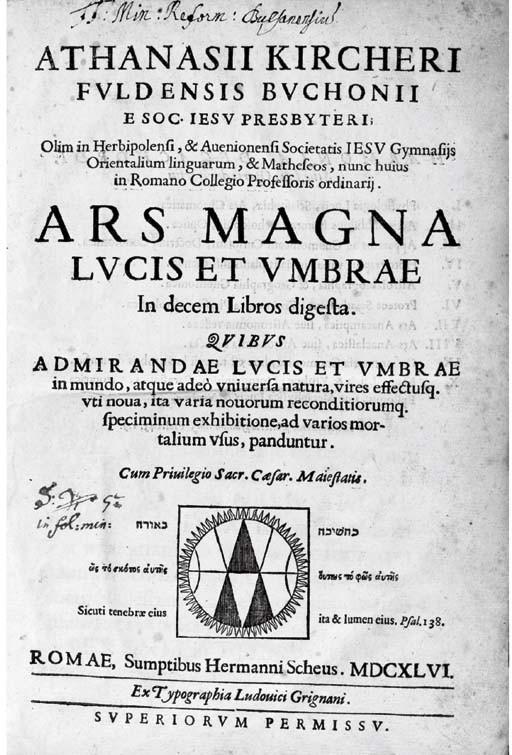 KIRCHER, Athanasius (1602-1680). Ars magna lucis et umbrae. Rome: Lodovico Grignani for