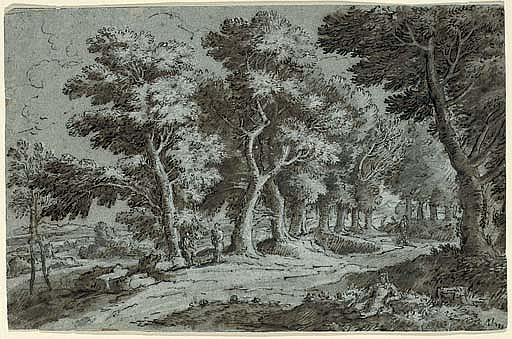 A wooded landscape with figures on a path