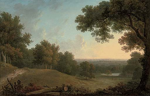 A view at Westhamble, Surrey, with a figure on a track, a lake in the distance