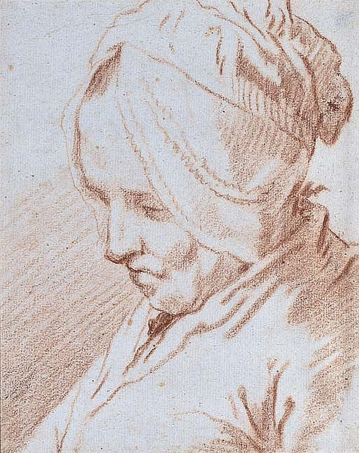 Portrait of an old lady, bust-length, wearing a bonnet