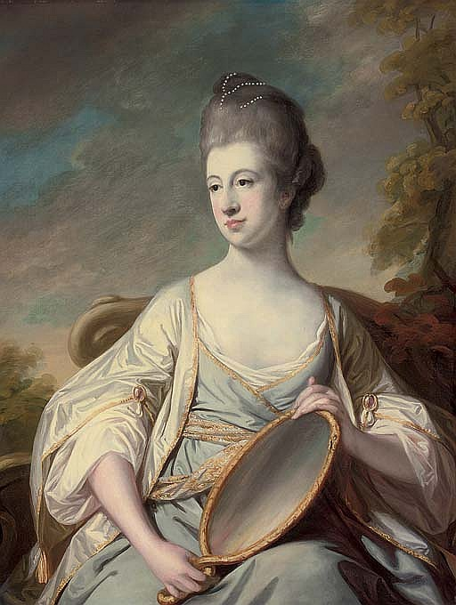 Portrait of Mary Dering, seated, three-quarter-length, in an oyster satin dress with gold trim, holding a mirror, in a landscape