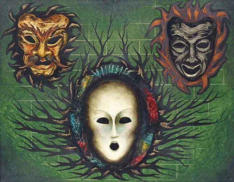 Fantastic masks in green