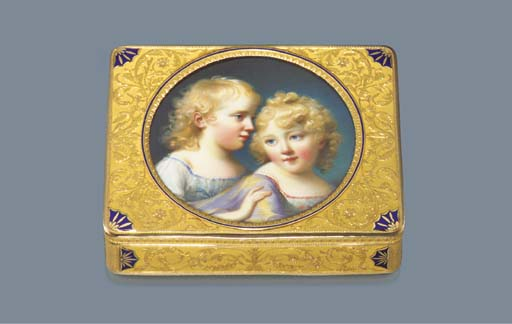 A FINE RUSSIAN PARCEL-ENAMELLED TWO-COLOUR GOLD SNUFF-BOX SET WITH A MINIATURE