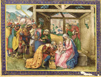 THE ADORATION OF THE MAGI, miniature on a leaf from a Prayerbook, ILLUMINATED MANUSCRIPT ON VELLUM