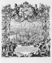 DECKER, Paul, the Elder (1677-1713), and other artists. Repraesentatio Belli, ob successionem in Regno Hispanico... Der Spanische Successions-Krieg. Augsburg: Jeremias Wolff, [c. 1720].