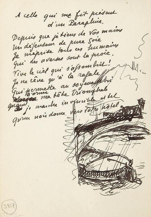 VALÉRY, Paul (1871-1945). A celle qui me fit présent d'un Parapluie . Poème autographe de 10 vers, non signé, accompagné d'un dessin à l'encre noire.