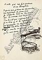 VALÉRY, Paul (1871-1945).  A celle qui me fit présent d'un Parapluie . Poème autographe de 10 vers, non signé, accompagné d'un dessin à l'encre noire., Paul Valéry, Click for value