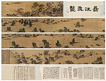 SHITAO (ATTRIBUTED TO, 1642-1707)/ AIXINJUELUO BO WENTING (ATTRIBUTED TO, Along the Yangtze River Handscroll, ink and color on silk 22 1/4 x 537 1/4 in. (56.5 x 1364.6 cm.)