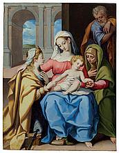 Bartolomeo Cesi (Bologna 1556-1629) The Holy Family with Saints Elizabeth a