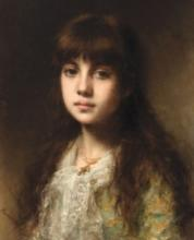 ALEKSEI HARLAMOFF (1840-1925) Girl with white laced kerchief