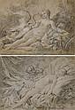 Léda et le cygne ( recto ), Esquisse d'une tête homme portant un casque ( verso ); et L'Amour et Psyché, Jacques-Philippe Caresme, Click for value