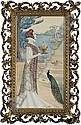Femme tenant un encensoir avec un paon à ses pieds devant un escalier, Jane Atché, Click for value