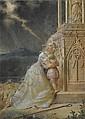 Bergère avec son enfant et son troupeau de moutons priant devant un autel par temps d'orage