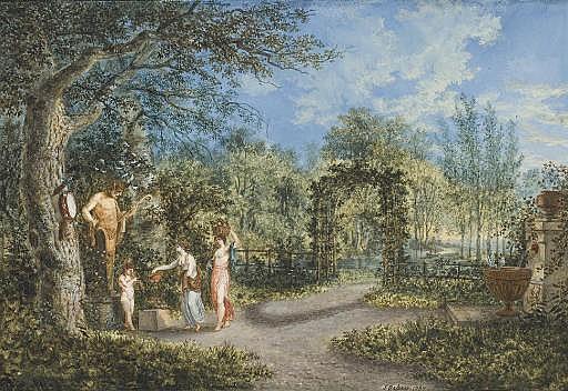Vue d'un parc, avec deux femmes et un enfant devant une statue