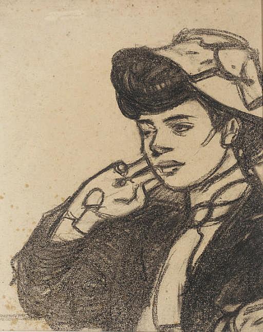 Tête de jeune femme au chapeau, vue de profil vers la gauche