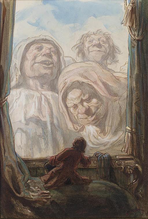 Un gentilhomme regardant trois géants