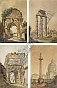 Quatre vues de Rome: La colonne Trajane; Le temple de Jupiter; L'arc de Titus; et L'arc de Trajan, Louis Ducros, Click for value