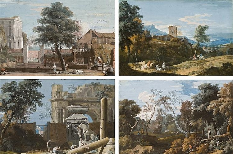 Peasants working near a farm, with a Venetian villa in the background; A capriccio with antique ruins, a triumphal arch and a statue of a lion; A hilly landscape with a medieval tower and figures in the foreground; and Woodcutters in a wooded