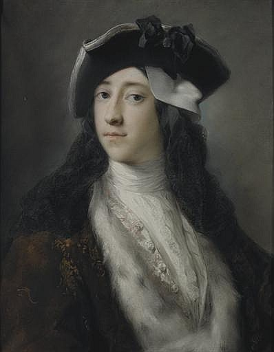 Portrait of Gustavus Hamilton (1710-1746), 2 n d Viscount Boyne, long bust-length, wearing an ermine trimmed coat, tricorn hat and mask