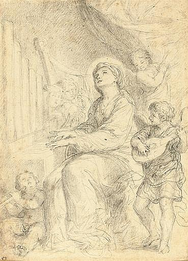 Saint Cecilia playing the organ accompanied by putti