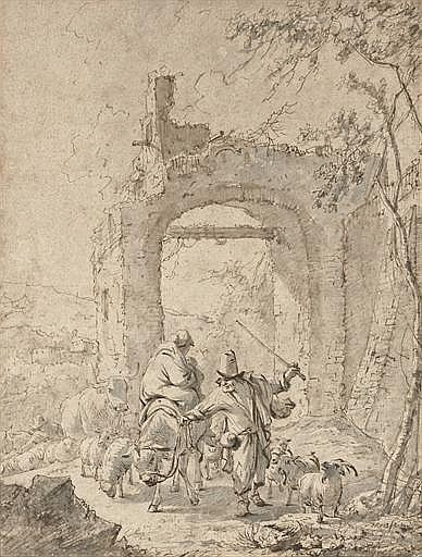 A peasant family and their animals by ruins