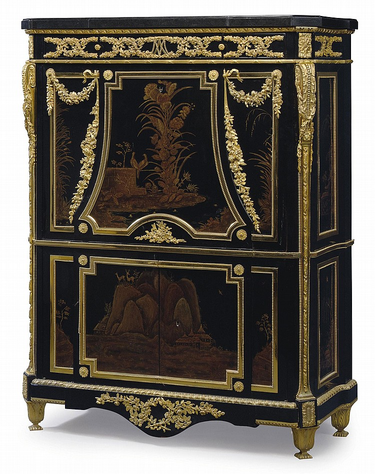 A NAPOLEON III ORMOLU-MOUNTED EBONIZED AND GILT-DECORATED BLACK LACQUER SECRETAIRE A ABATTANT