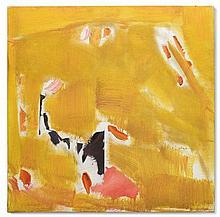 Olivier Debré (1920-1999) Cabris jaune orange (taches roses) huile sur toile 99.5 x 99.5 cm.