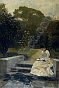 Reading in the garden, Julius Mendes Price, Click for value