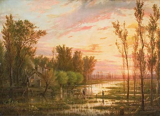 A country cottage in a marsh landscape