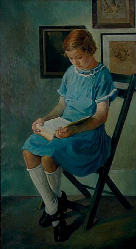 Portrait of a girl in a blue dress reading a book