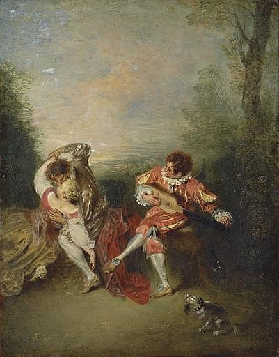 La Surprise : A couple embracing while a figure dressed as Mezzetin tunes a guitar