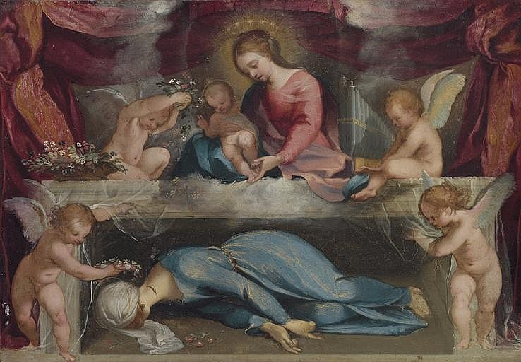The Madonna and Child with the martyred Saint Cecilia and infant angels