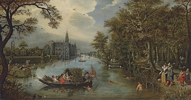 Summer: A river landscape with elegant company desporting in a boat and on the banks, a castle beyond