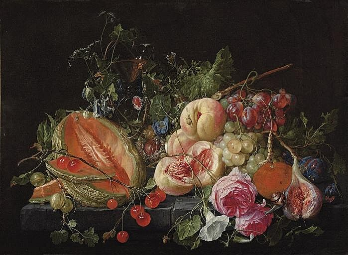 A cut melon, cherries, gooseberries, peaches, grapes, figs, plums, flowers, snails and insects on a stone ledge