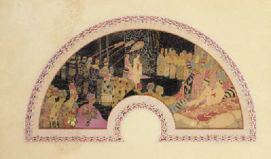 'The daughter of Shah Zenar' by George Sheringham, an unmounted fan leaf painted on silk with