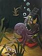 Deep Sea Diver Clown Struggling with Octopus, Sean Landers, Click for value