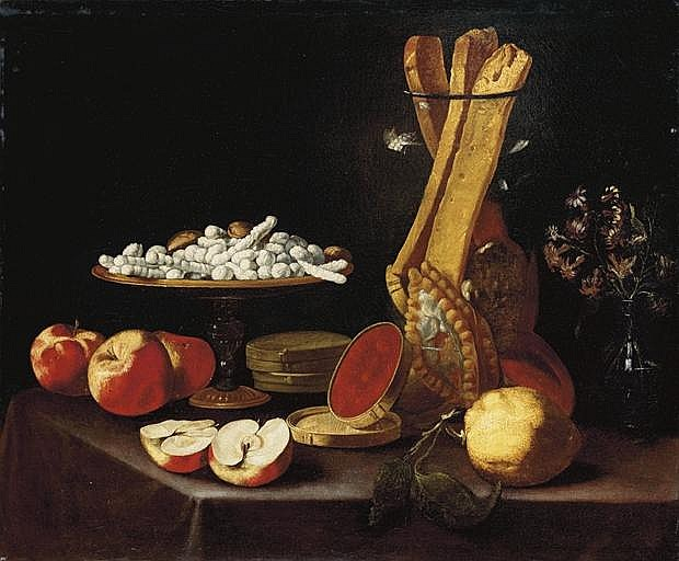 Sweets on a  tazza , narcissi in a glass vase, breadsticks in a jar, and apples, jelly and a lemon on a draped table