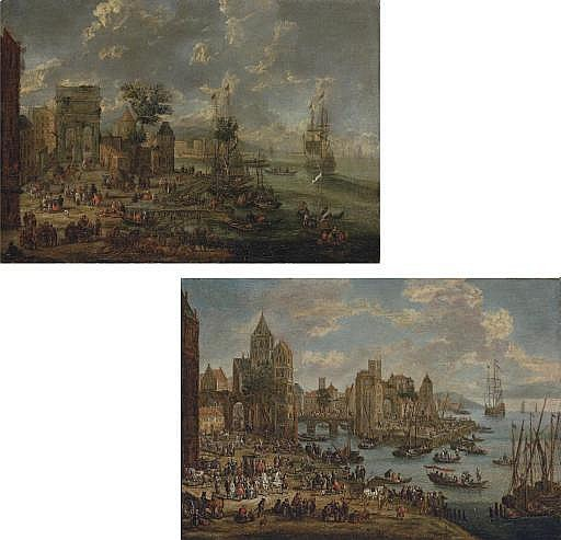 A  capriccio  of a busy port with the ruins of a triumphal arch; and A  capriccio  of a busy port with a bridge, a coach in the foreground