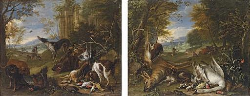 A hound guarding dead game birds, a stag and a hare, with huntsmen in a landscape; and Hounds with a dead swan, hare and a boar, with huntsmen in a landscape