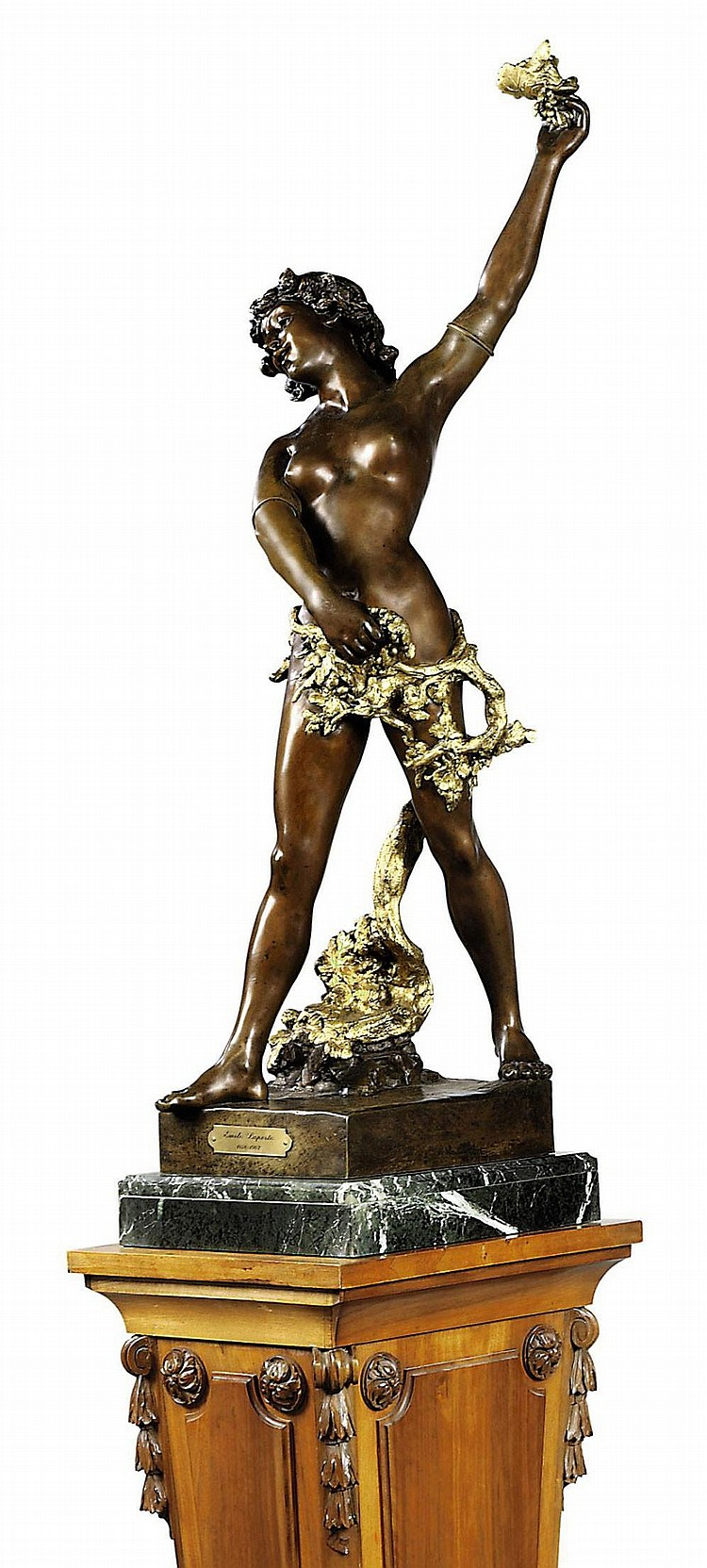 A FRENCH GILT AND PATINATED BRONZE FIGURE OF A BACCHIC NYMPH, ON PLINTH