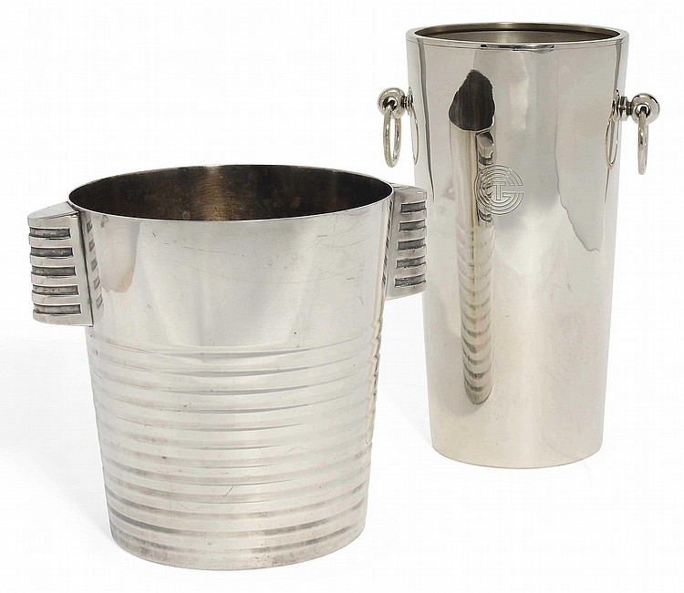 'ONDULATION' A CHRISTOFLE GALLIA METAL ICE BUCKET DESIGNED BY LUC LANEL