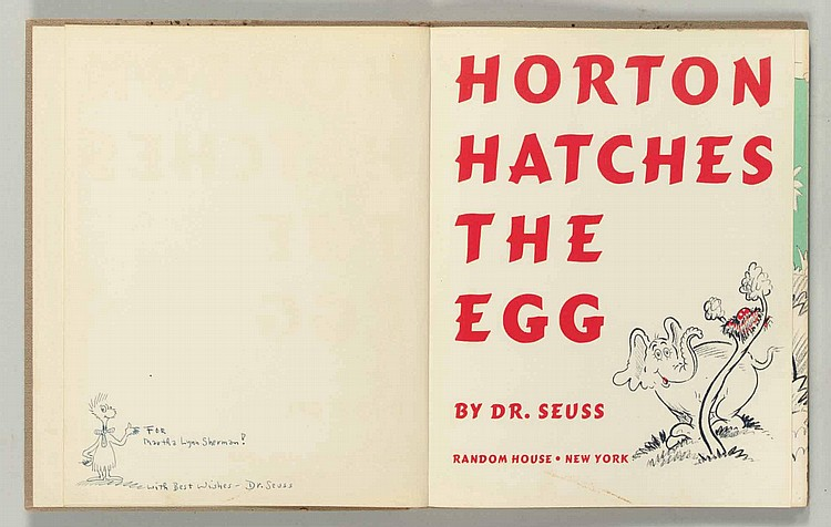 SEUSS, Dr. [Theodore GEISEL] (1904-1991).  Horton Hatches the Egg . New York: Random House, 1940.