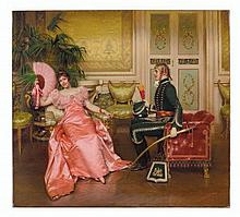 Charles-Joseph-Frédéric Soulacroix (French, 1825-1879) Flirtation oil on canvas 29 x 32 in. (73.7 x 81.3 cm.)