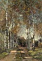 A birch-lined lane, Theophile de Bock, Click for value