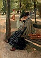 Reading in the Bois de Boulogne, Paris, Isaac Israels, Click for value