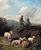 Young shepherds with their flock, Robert (1815) Eberle, Click for value